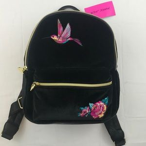 Betsey Johnson Black Velvet Hummingbird Backpack
